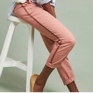 Anthropologie Salmon Side Stripe Chino Pants